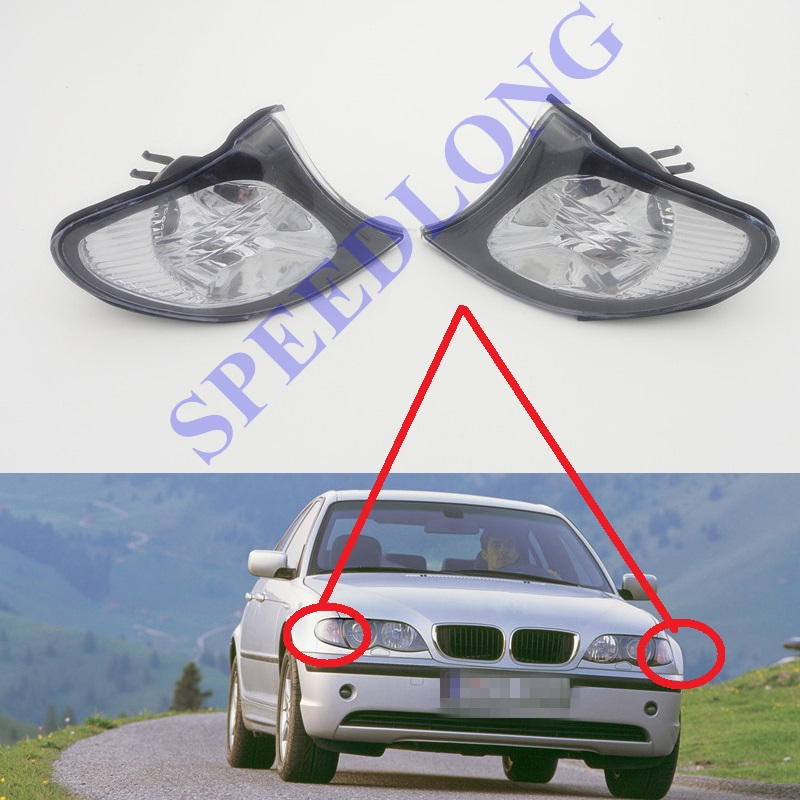 2 Pcs/Pair White Front corner light lamps turning signal lights for BMW 3 Series E46 new moldel 2001-2004 2pcs front bumepr corner lights lights turn signal lamps for bmw 3 series e46 2001 2004