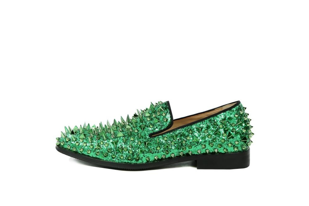 Newest factory customized men luxury brand shinny glitter blue and green  spikes shoes slip on loafers 756ad3aa2b76