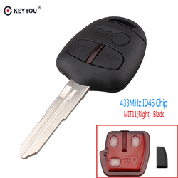 KEYYOU 3 Button 434MHZ ID46 Chip Keyless Remote Control Car Key Fob For Mitsubishi Lancer Outlander Shogun Pajero MIT11 Blade