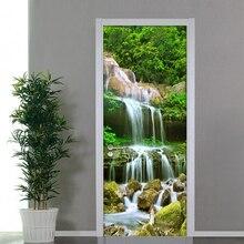 Mountain Water Waterfall Door Sticker