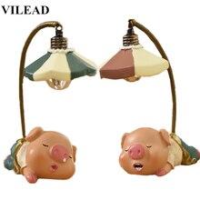 VILEAD 7.8 Resin Cute Pig Night Light Figurines Cartoon Model Miniatures Home Decoration Accessories Creative Gift for Kid
