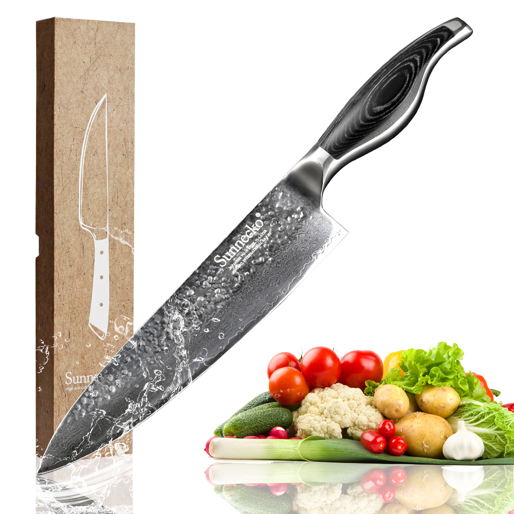 Sunnecko Damascus Steel 8 Chef s Kitchen Knife Sharp Cooking Tool Pakka Wood Handle Japanese VG10