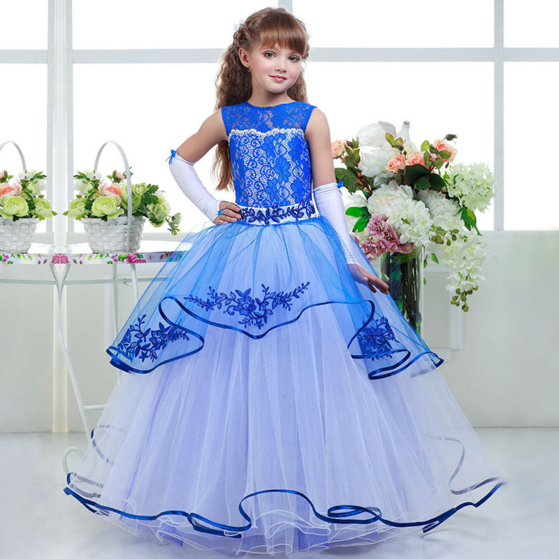Long Pageant Dresses for Girls Glitz Blue A-Line O-Neck Lace Up Patchwork Sleeveless Formal Mother Daughter Dresses For Party jewel neck sleeveless floral print a line belted dress