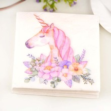 20pcs FOOD GRADE Unicorn theme Paper Napkins Food Festive & Party Tissue Decoupage Decoration 1pack
