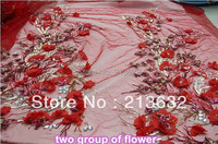 1 Piece 3D flower African three dimensional flowers sequins best embroidery gauze wedding clothes cheongsam diy the fabric lace.