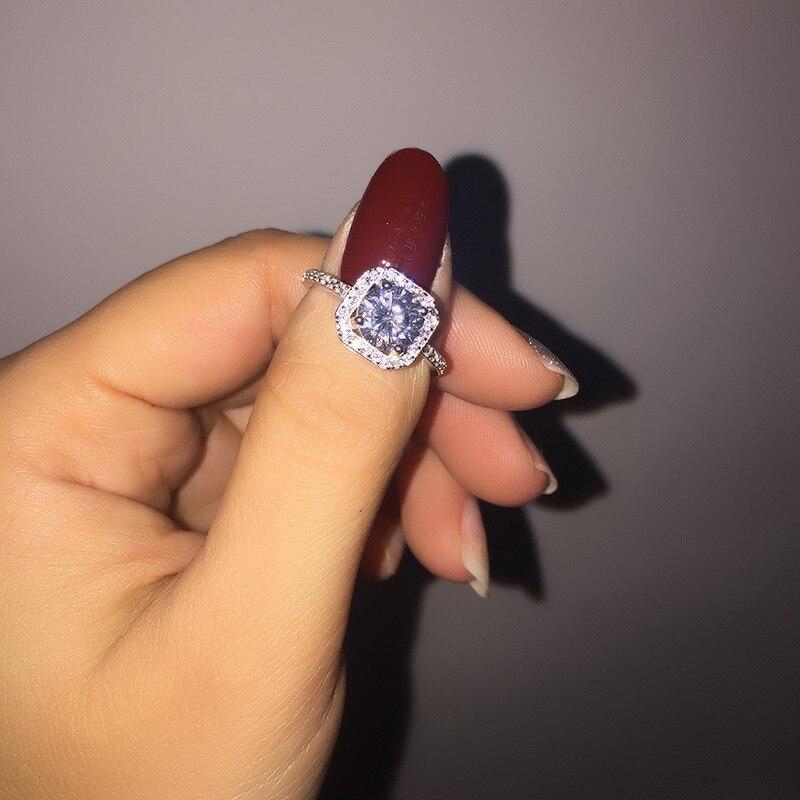 Ringe Ewige 925 Sterling Silber Ring Edlen Schmuck Mit S925 Stempel Inlay 1 Karat Cz Simulierte Diamant Engagement Ring Größe 4-9