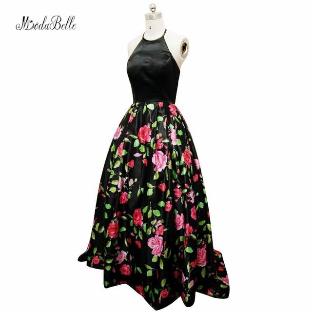 1a18a23d2 Modabelle elegante negro vestido largo floral Halter vestido de graduacion  impreso flores fiesta Vestidos para las