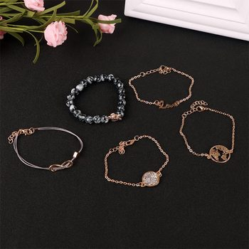 5Pcs Simple Bracelet Set Letters Map Turtles Pattern Pendant Bracelets Alloy Bracelet Women Fashion Jewelry Creative Gift bracelet