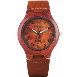 Новые спортивные Повседневное Bamboo Для мужчин подарок кварцевые римскими цифрами из натуральной кожи Bnad ремень наручные часы Cool Для женщин