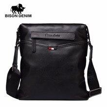 Бизон джинсовая сумка Для мужчин классические черные Бизнес натуральная кожа сумка бренд Crossbody мешок дизайнер Сумки на плечо N2490
