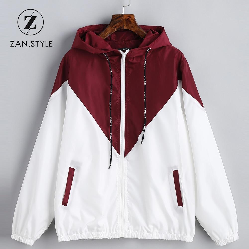 Spring Autumn Hooded Two Tone Windbreaker Jacket