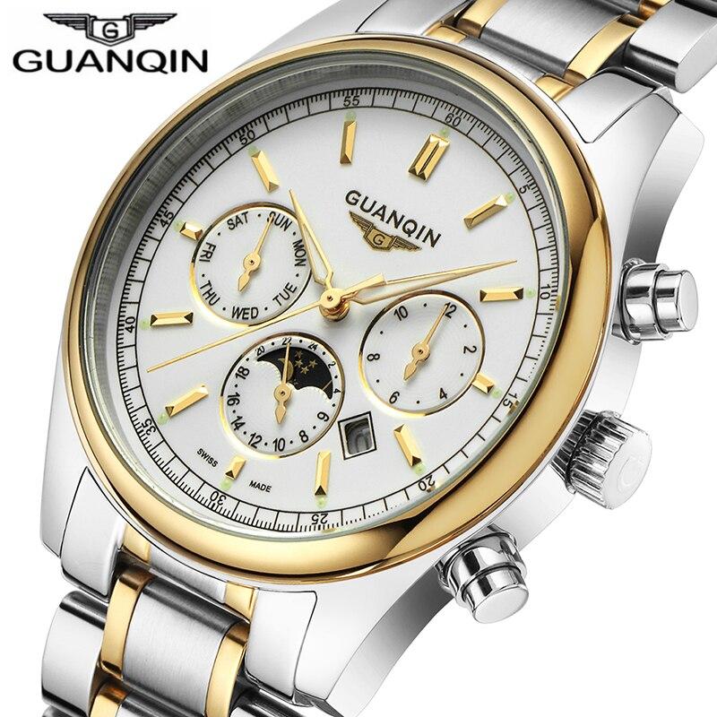 Relogio Masculino 2018 Brand Watch Men GUANQIN Business Mens Gold 316L Stainless Swimming Quartz Watch Waterproof Wristwatch