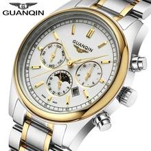 Relogio Masculino 2020 Brand Watch Men GUANQIN Business Mens Gold 316L Stainless Swimming Quartz Watch Waterproof Wristwatch