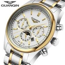 Relogio Masculino 2020 מותג שעון גברים GUANQIN עסקי Mens זהב 316L נירוסטה שחייה קוורץ שעון עמיד למים שעוני יד