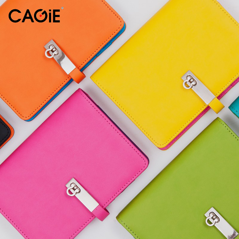 CAGIE 2016 New Candy Agenda Planner Spiral Leather Notebook Travel Journal Personal Diary For Gift Fashion