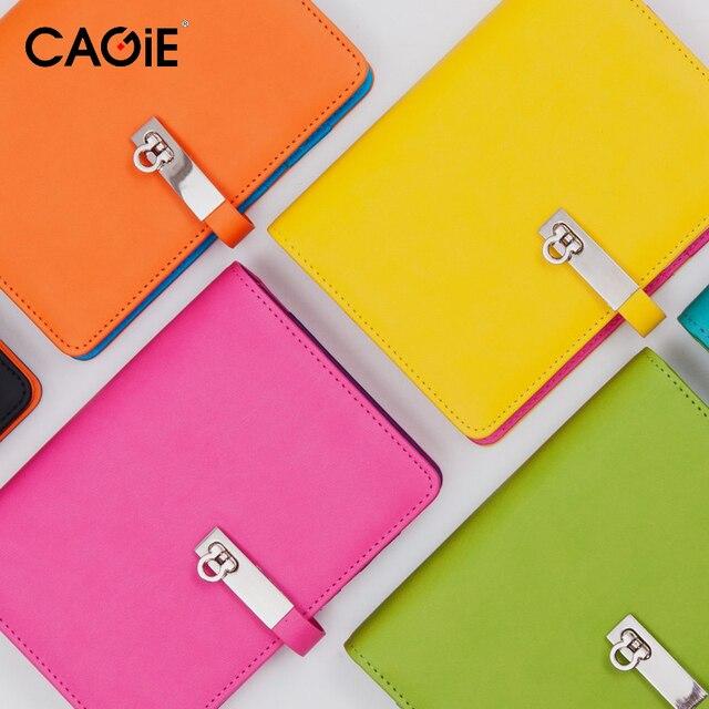 Cuaderno espiral cagie planificador A6 cuero ligante diario alineado ...
