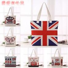 bfaab2f771d5 Новый Британский национальный флаг Лондонский автобус Биг Бен узор  Хлопковая сумка женская сумка для покупок модная