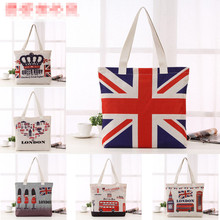 2016 New British National Flag London Bus Big Ben Pattern Cotton Bag Women Shopping Bag Large Capacity printio british flag bus