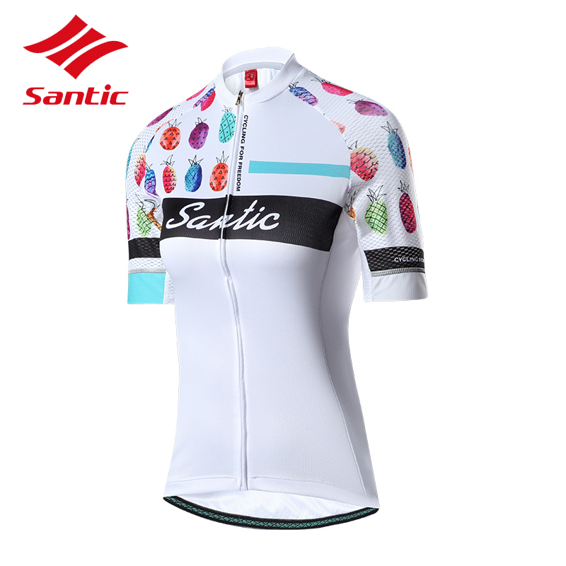 Santic Cycling Jersey Women Summer Short Sleeve Breathable Reflective Quick Dry Anti-sweat Bicycle Clothes White Black Jersey santic short cycliste homme anti sweat and quick dry mtb shorts cuissard velo homme pro gel troy lee designs short vtt c05018