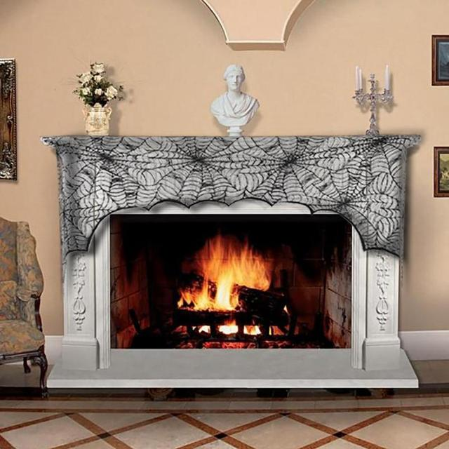 Halloween Cobweb Fireplace Scarf Black Lace Stove Spider Net Decoration Cover Cloth Party Ornaments 3