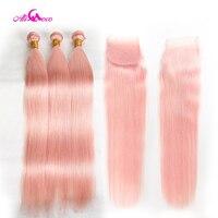 Ali Coco бразильские прямые волосы 3/4 пучки с закрытием полностью розовые человеческие волосы пучки с 4*4 Кружева закрытия remy наращивание волос