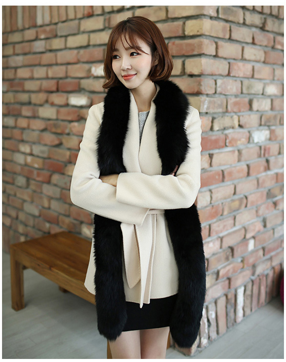 Lovingbeauty Long High Quality Black Fox Fur scarf wraps collar scarves real fur trim genuine fur shawl