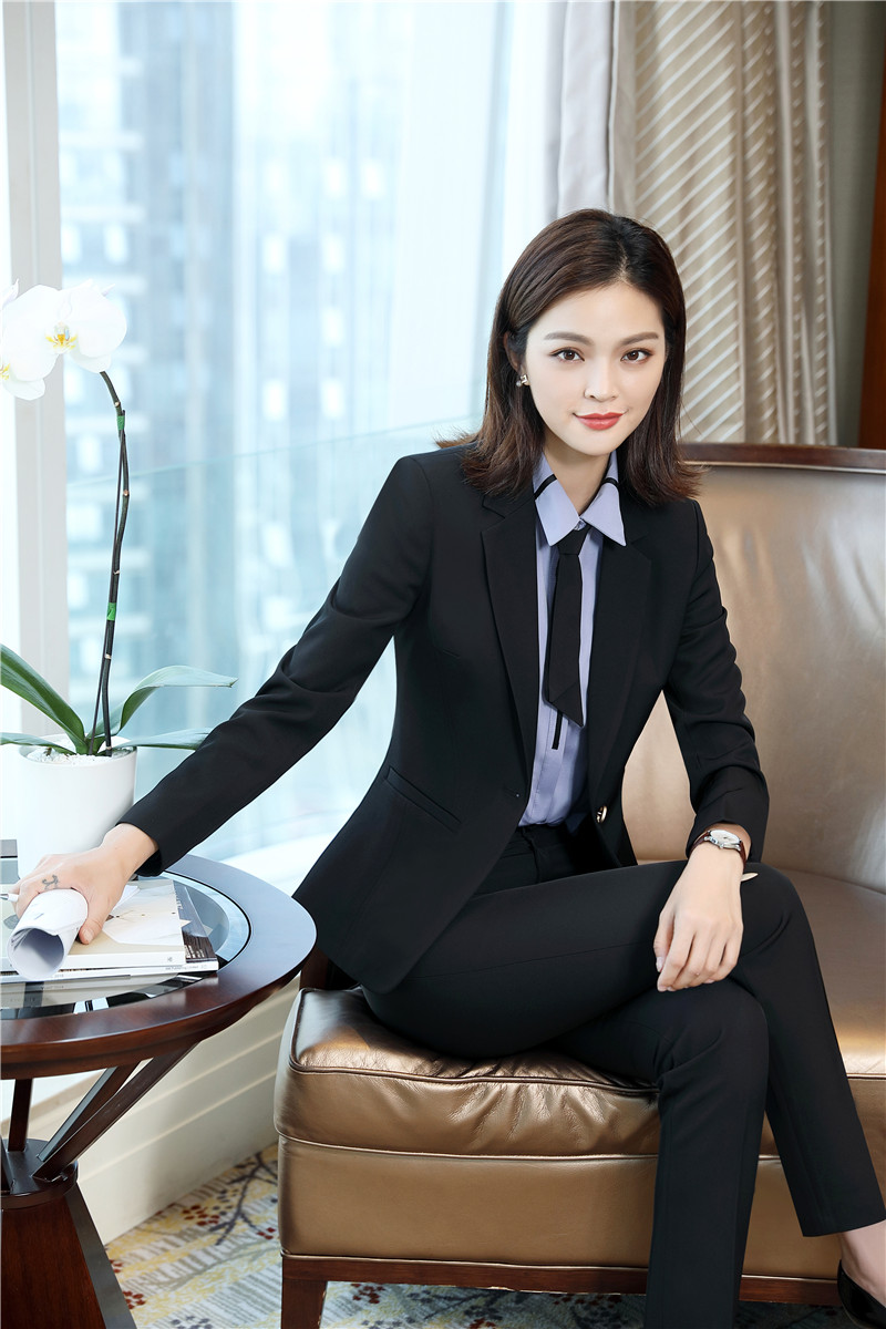 2018 Fall Winter Uniform Designs Pantsuits With Jackets And Pants For Women Business Pant Suits Female Trousers Sets Black