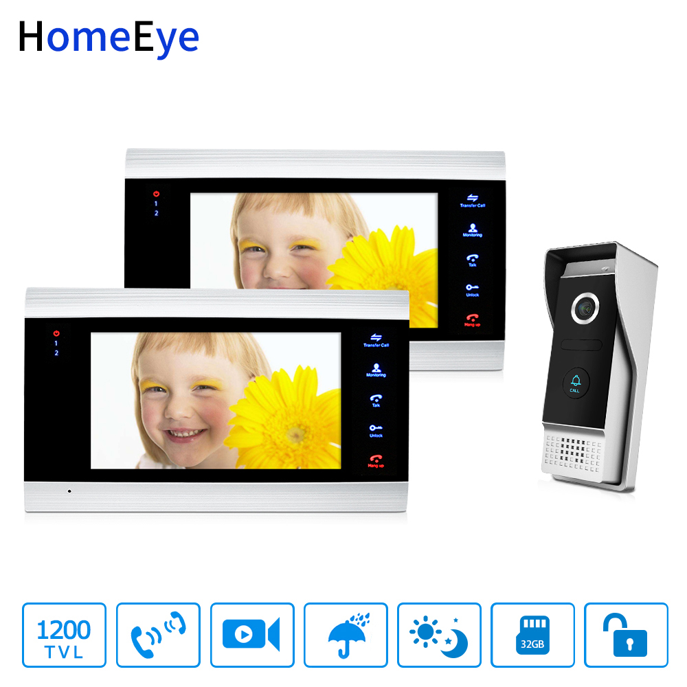 HomeEye 7'' Video Doorbell Video Intercom 1200TVL IP65 Waterproof Motion Detection OSD Menu Night Vision Security Access System