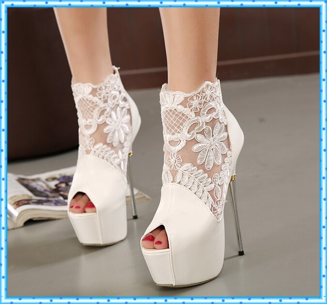 women summer boots 2016 lace pumps women party shoes platform pumps white wedding shoes stiletto heels open toe dress shoes C992 woman shoes summer pumps elegant gray stiletto heels concise ankle buckles design open toe charming female platform party shoes