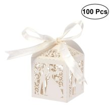 100pcs Couple Design Luxury Lase Cut Wedding Sweets Candy Gift Favour Boxes with Ribbon Table Decorations (Creamy-white)(China)