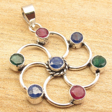 "Здесь можно купить   Rubi, Emrald & Sappfire MultiColor Pendant 1 5/8"", Silver Plated CHAKRA Jewelry Fashion Jewelry"