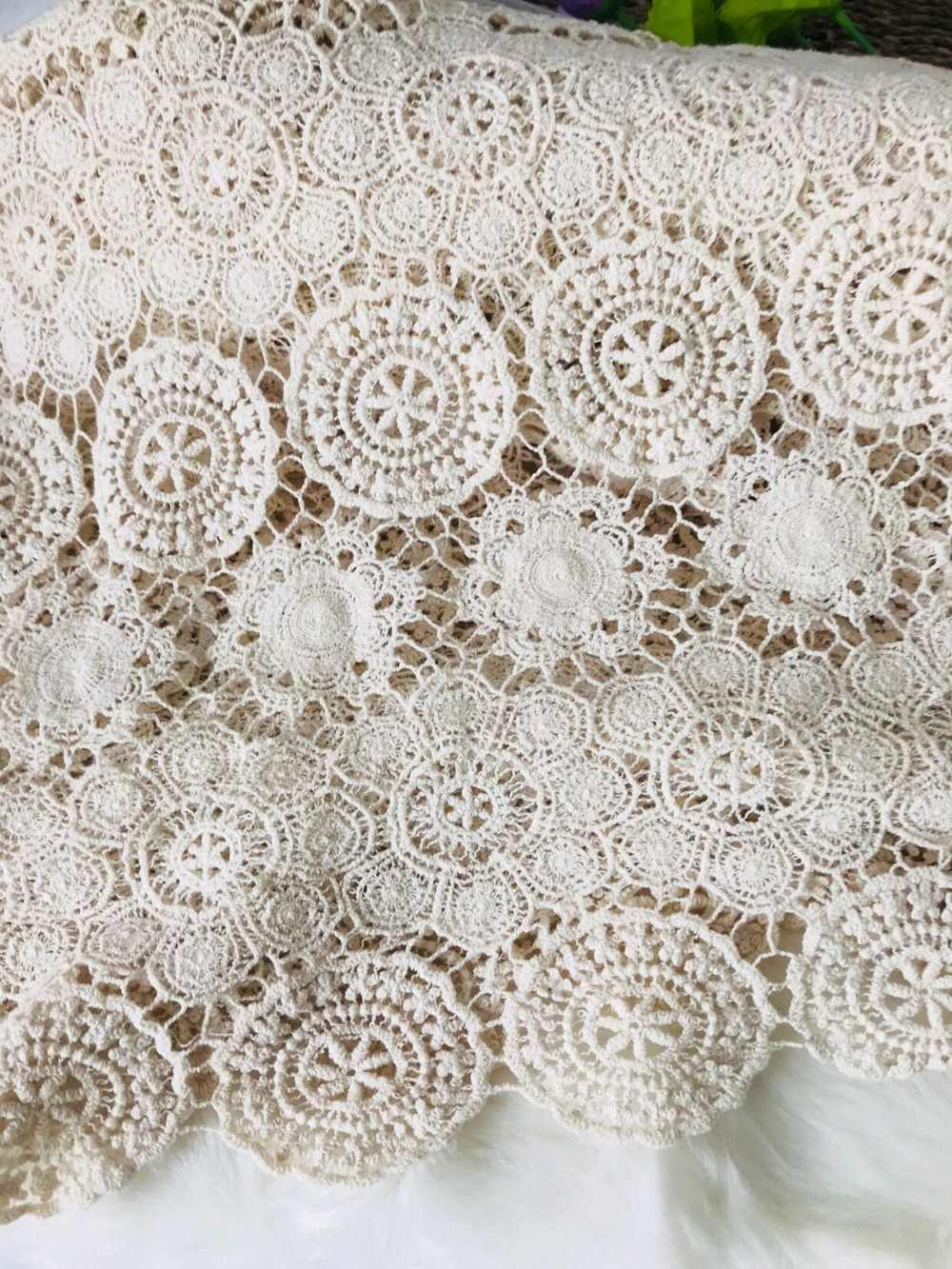 Craft Supplies Vintage Fabric Cotton Crochet Craft Lace Fabric Sewing and Needlecraft.