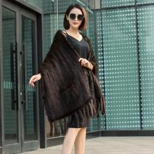 Mink Knitted Fur Scarf Warm Shawl Wool Neck Thicker