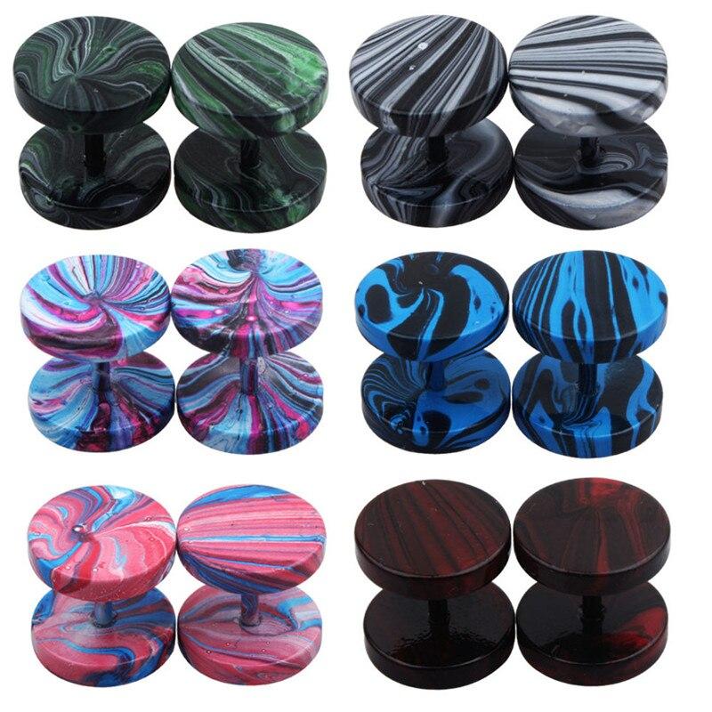 1pair Fake Plugs 16G Stainless Steel Studs Earrings Fake Gauge Cheater Plugs Faux Tunnels Earrings for Men Women Piercing oreja
