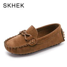 SKHEK 2018 Autumn Children Shoes Girls Flock PU Leather Moccasins 1-6 Years Kids Shoes Boys Loafers Tassel Casual Shoes(China)