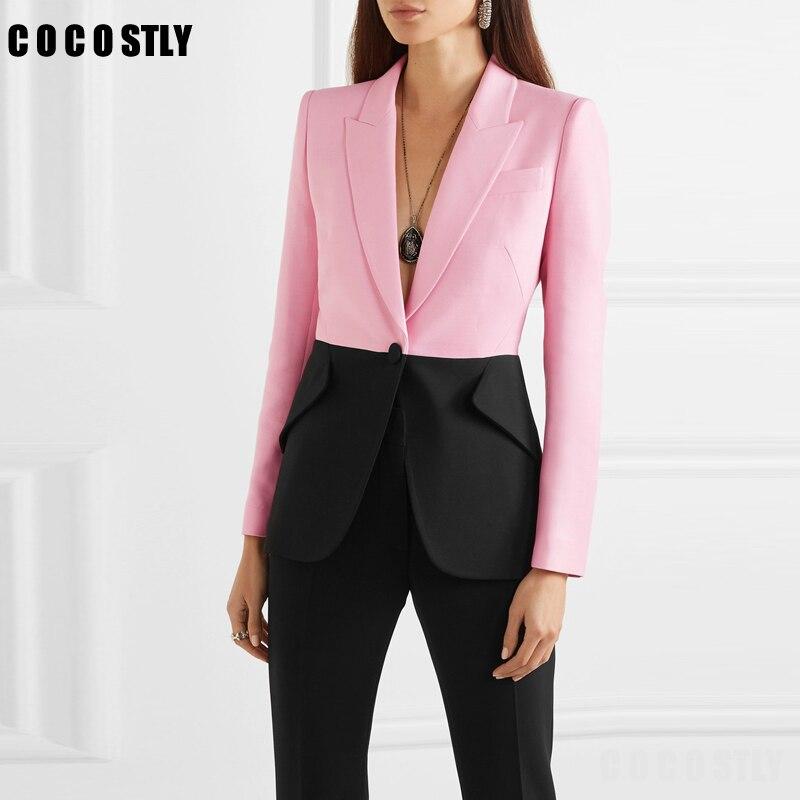 Hit Color Patchwork Blazer For Women Notched Collar Long Sleeve Elegant Coats Office Lady Blazer Feminino Autumn New