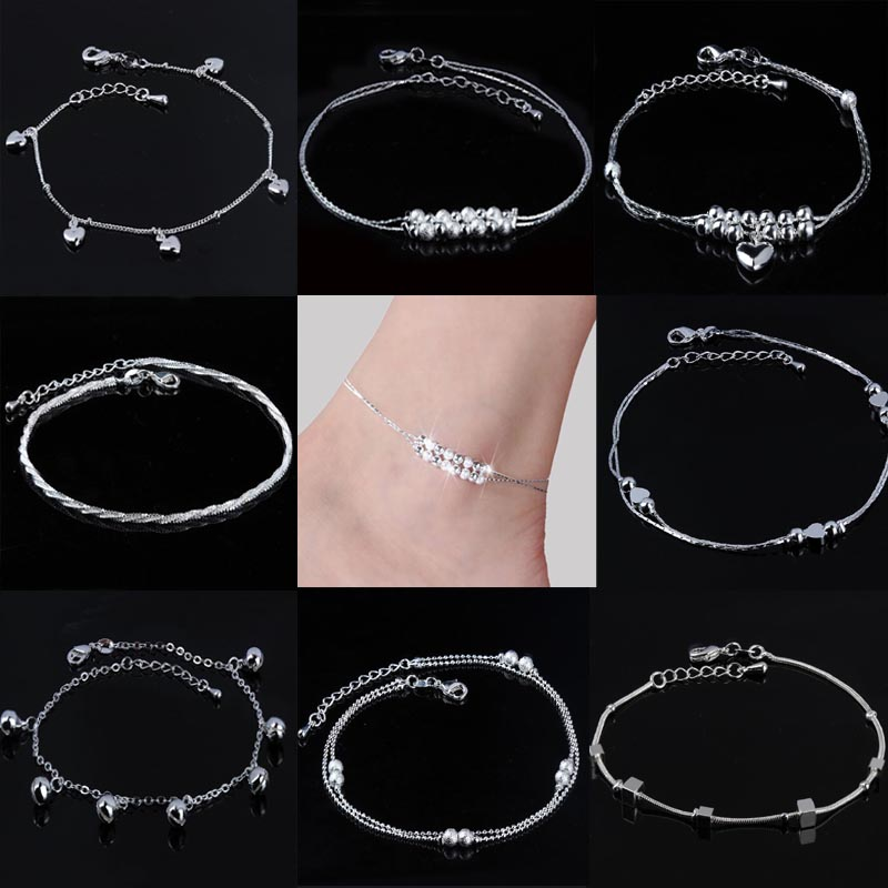 Women Beaded Silver Plated Anklet Heart/Daisy Flower/Hemp Rope/Bell Foot Chain Ankle Bracelet Barefoot Sandals Summer Jewelry