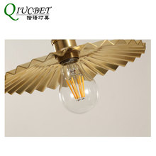 Brass Pendant Light Modern Nordic LED Pendant Lights 22cm shade with E27 bulb Gold Hanging Lamp For Bar Decor Ins Style e27 brass material socket d220mm clear glass shade fabric twisted wire cord brass material ceiling plate 100% brass pendant lamp