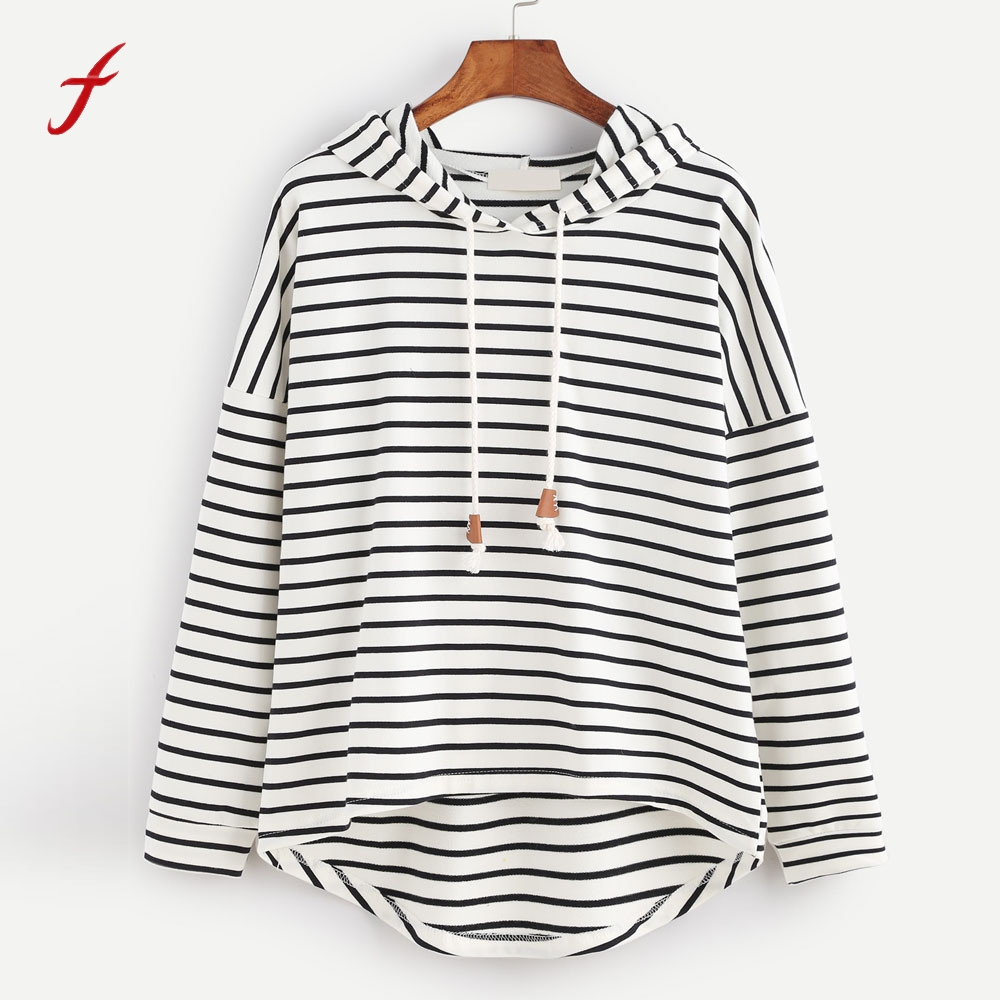 2017 Womens Stripe Hoodie Loose hoodies Hooded kpop Long Sleeve Tracksuits Jumper Casual Pullovers Tops Sportswear Female  ...