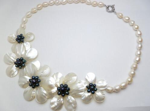 Fashion Jewelry Fresh Water Mother Pearl Shell Flower Black Necklace
