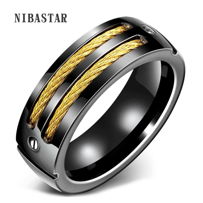 Mens Ring Gold and Black Gun Plated Stainless Steel Punk Rock Ring With Cable Wire Man Jewelry USA Size