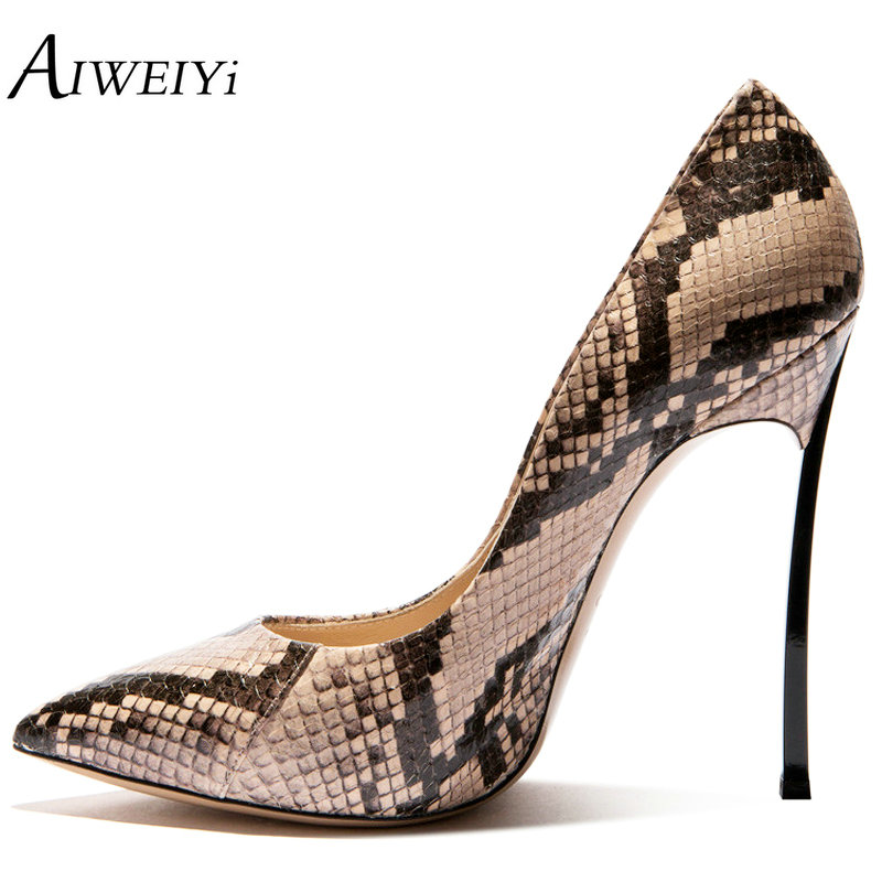 AIWEIYi Snake Print Women Shoes Metal Heel Shoes Platform Pumps 10CM/12CM High Heels Pointed Toe Ladies Wedding Bridal Shoes sexy glitter women shoes metal heel sequined shoes pumps 8cm or 10cm or 12cm high heels pointed toe wedding bridal shoes