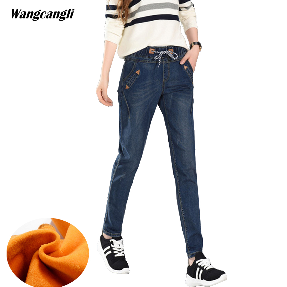 9798842e41 2018 Winter thick warm Jeans woman Drawstring Plus size 5XL elastic waist  fleece Trousers woman vintage Harem Denim Pants Women