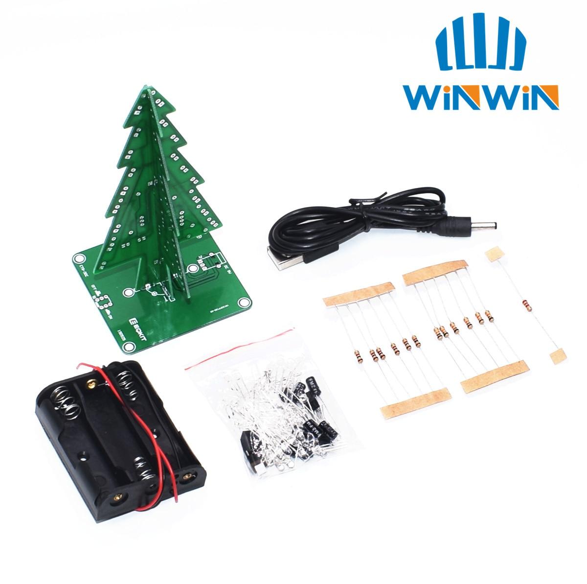 Diy-Kit Flash-Circuit-Kit Three-Dimensional 3D LED Suite Christmas-Tree Fun Electronic