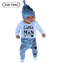 New Baby Boy Cotton Long-sleeved Romper + Trousers + Hat