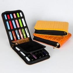 high quality metal Fountain Pen Case Roller Pen orange Pu Leather Pen bag for Capacity 12 PCS Luxury Gift Pens pencil bag