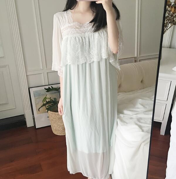 Spring Autumn Lace Pajamas Women's Princess Square Collar Sleepwear Half Sleeve Nightdress Female Nightwear