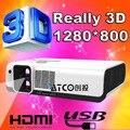 200 pulgadas de pantalla Nativa 2*1280*800 1920*2205 Multi-función Polarizada 3D Blue ray Proyector Vídeo Projektor Beamer 2700 Lúmenes ANSI