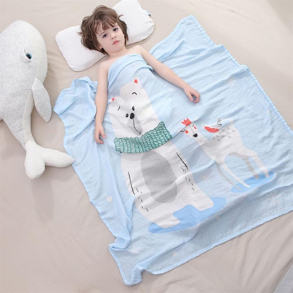 2019 Mode Muslimischen Neugeborenen Baby Swaddle Decken Bambus Baumwolle Musselin Gaze Babys Bettwäsche Tier Cartoon Schlaf Decken Jungen Mädchen Baby