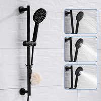 Adjustable Slide Bar with Handshower Set Matte Black Stainless Steel Round Shower Riser Rail Bar With Hose and Shower